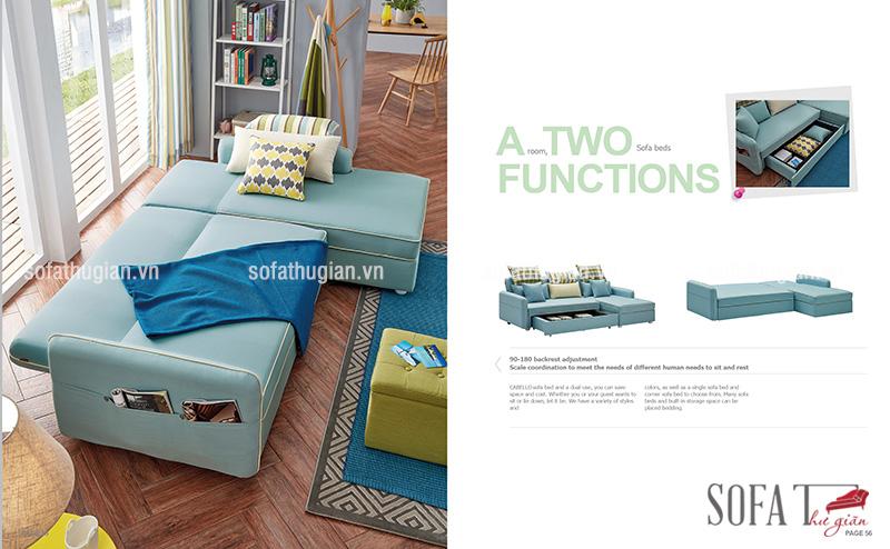 Ghế sofa giường màu xanh dương mát mẻ cho mùa hè