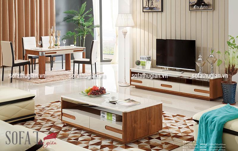 Bộ bàn trà và kệ ti vi phù hợp với bộ ghế sofa màu trắng