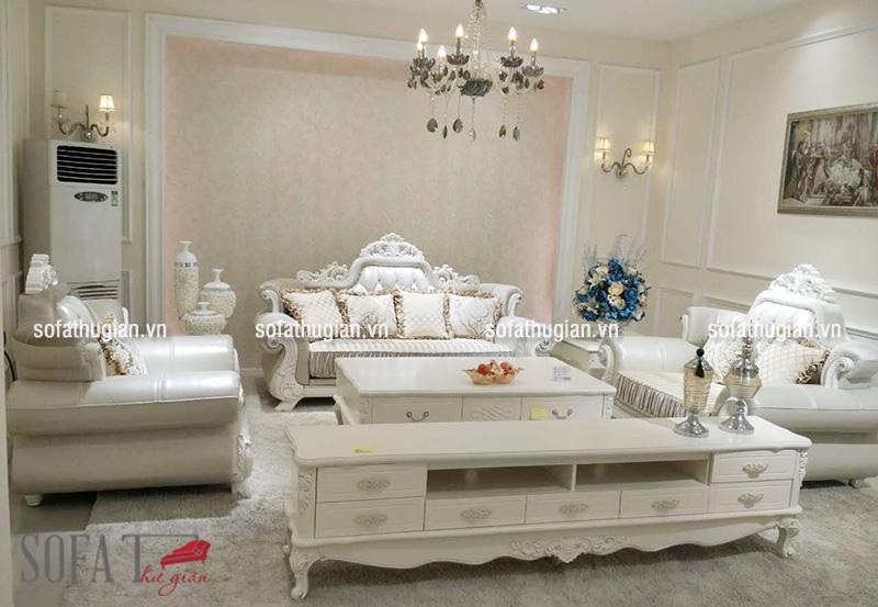 Bộ ghế sofa màu trắng bằng da thật theo phong cách cổ điển Châu Âu