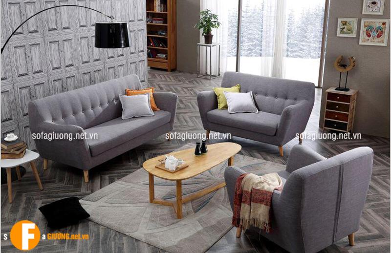 Bộ ghế sofa văng 1,2,3 bằng chất liệu vải nỉ cao cấp mang đế sự êm ái và một không gian phòng khách gần gũi