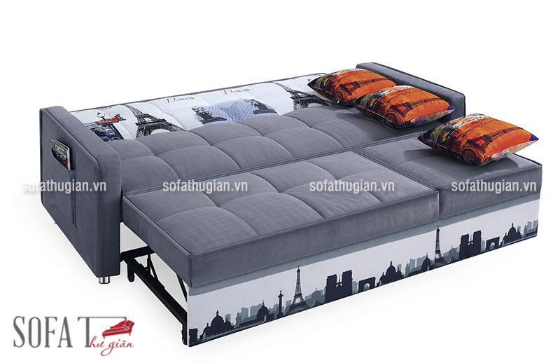 Bộ sofa ở trạng thái đã kéo dài ra thành chiếc giường đôi êm ái